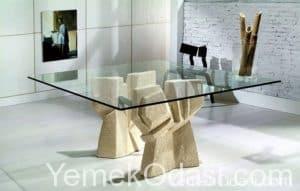 Cam yemek masaları