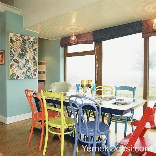 renkli yemek odası