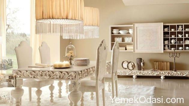 beyaz minimalist yemek odası takımı