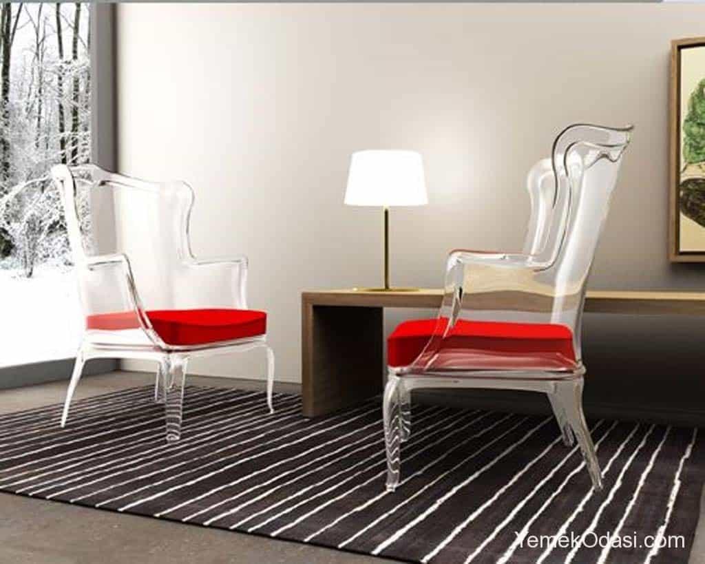kırmızı cam sandalye