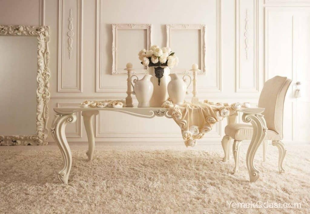 klasik beyaz yemek masası (2)