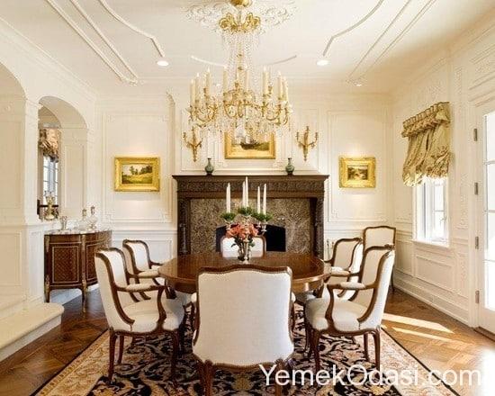 klasik beyaz yemek odası