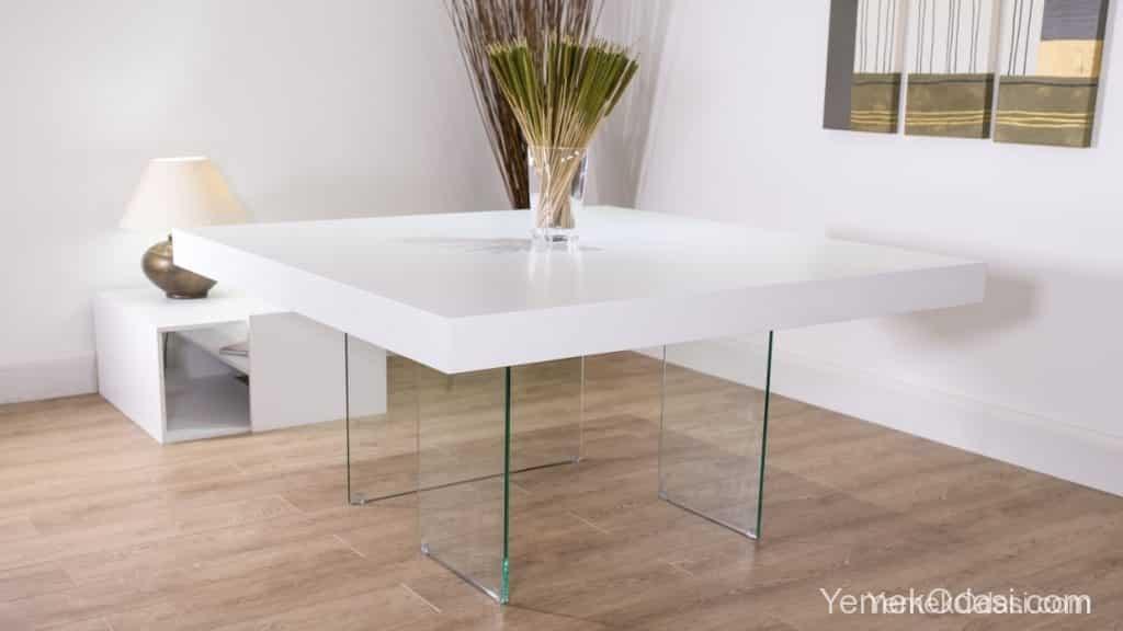 modern kare beyaz yemek masası