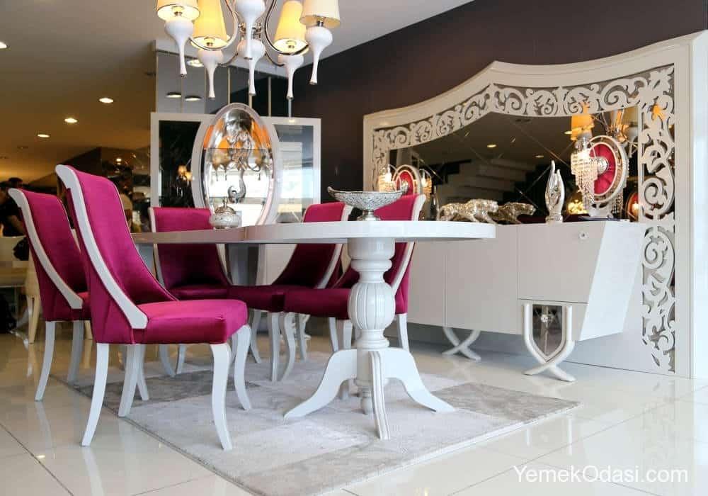mor beyaz avangarde yemek odası