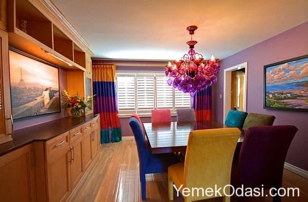 renkli yemek odası takımı