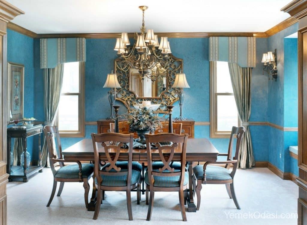 retro mavi yemek odası takımı