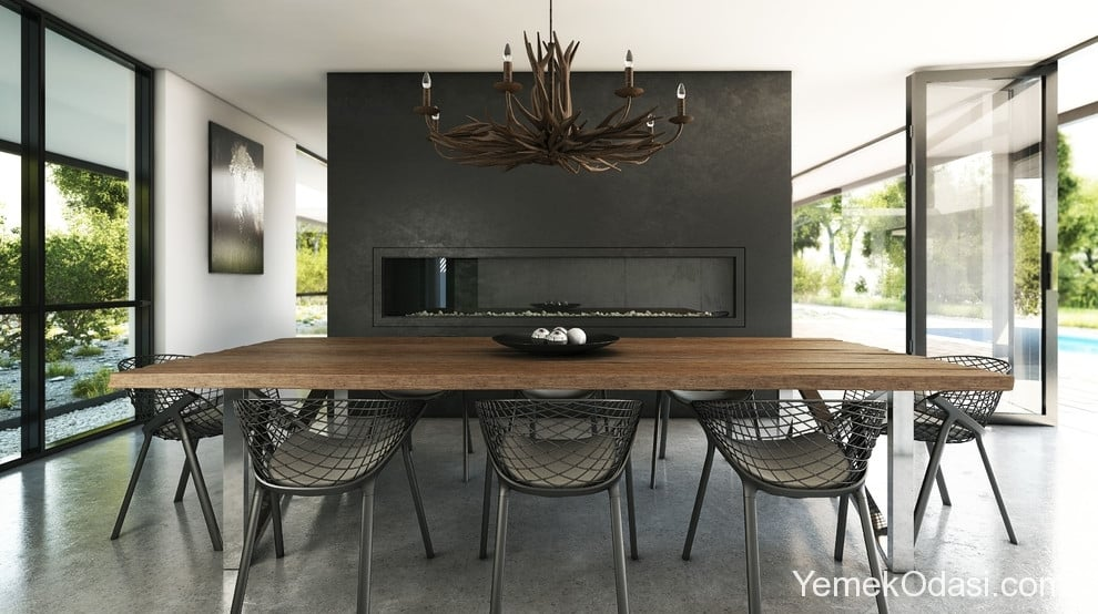 siyah gri modern yemek odası