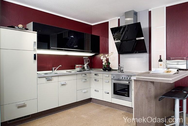 Renkli ve Son Moda Dikdörtgen Mutfak Modelleri 1