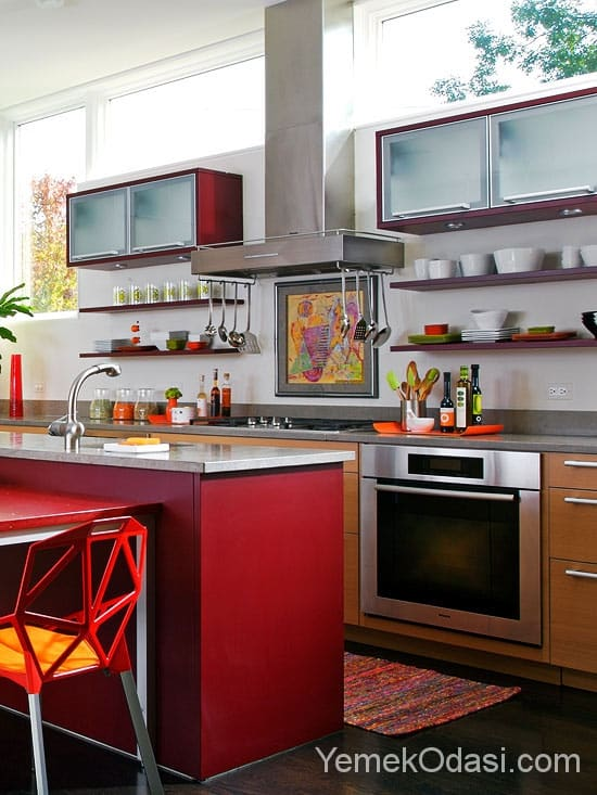 Kırmızı Mutfak Dolapları