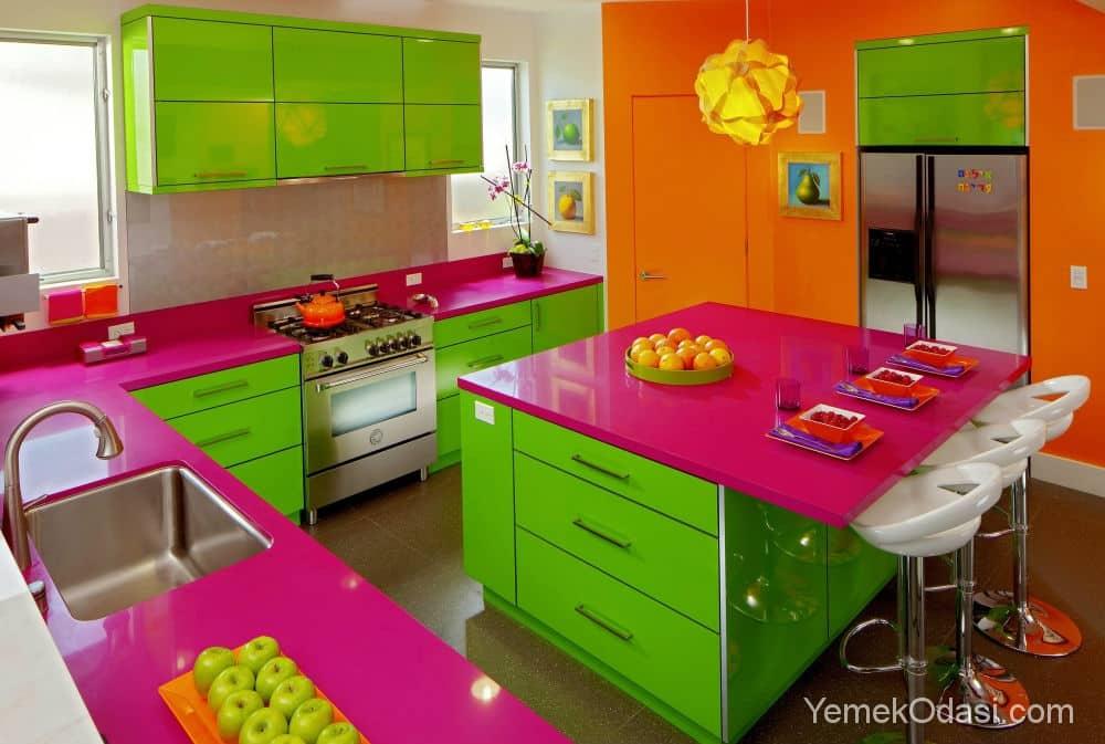 Renkli Mutfak Dolapları