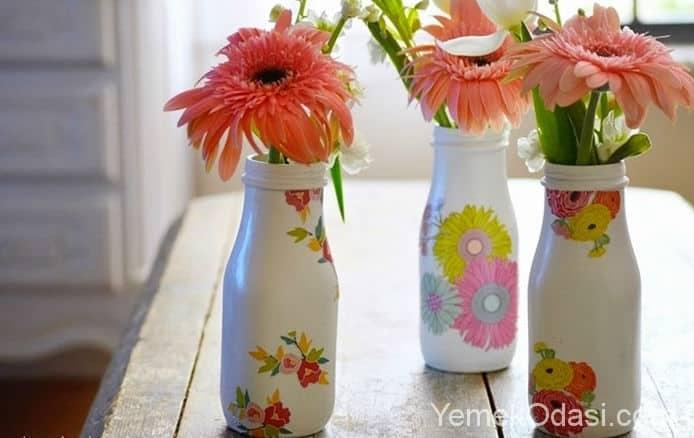 cam boyama ve dekupaj ile vazo yapimi