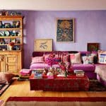 mor oturma odası dekorasyonu
