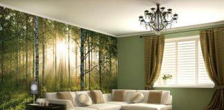 3d duvar kağıtlı salon dekorasyonu
