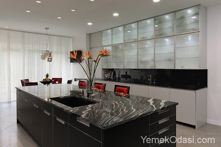 cam kapaklı mutfak dolapları