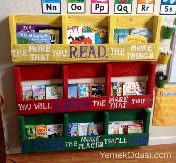 paletten renkli kitaplık