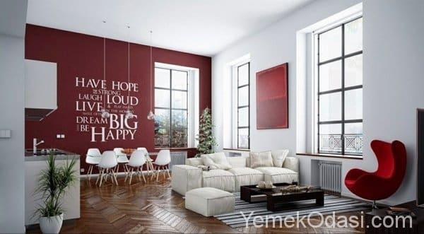 kırmızı renkli salon