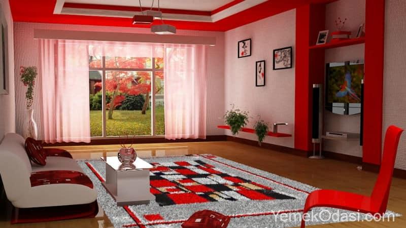 Kırmızı İle Göz Alıcı Salon Dekorasyonu 1
