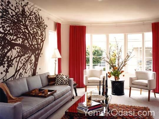 kırmızı salon dekorasyonu