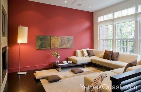 Kahverengi ve Bej Renkte Salon Dekorasyonu 2