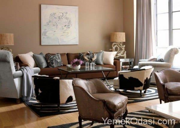 Kahverengi ve Bej Renkte Salon Dekorasyonu 11