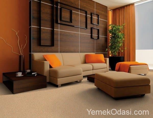 Kahverengi ve Bej Renkte Salon Dekorasyonu 12