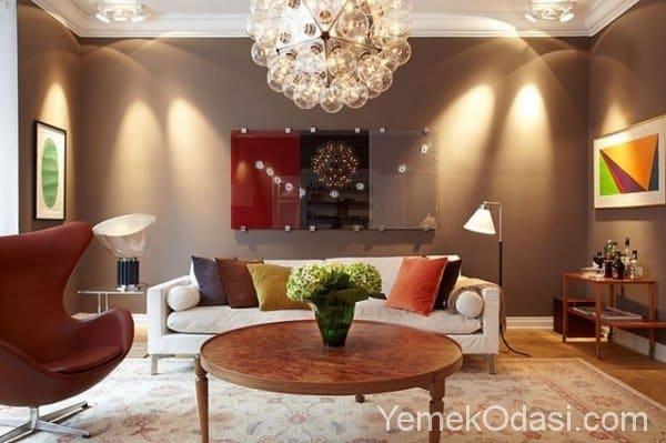 Kahverengi ve Bej Renkte Salon Dekorasyonu 13