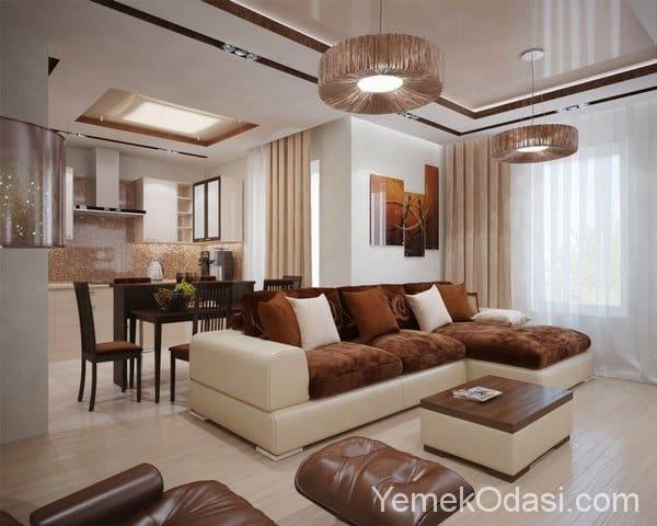 Kahverengi ve Bej Renkte Salon Dekorasyonu 14