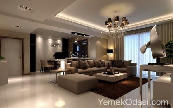 Kahverengi ve Bej Renkte Salon Dekorasyonu 15