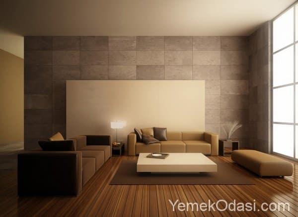 Kahverengi ve Bej Renkte Salon Dekorasyonu 16