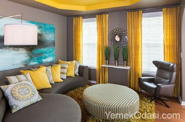 Gri Sarı Salon Dekorasyonu 1