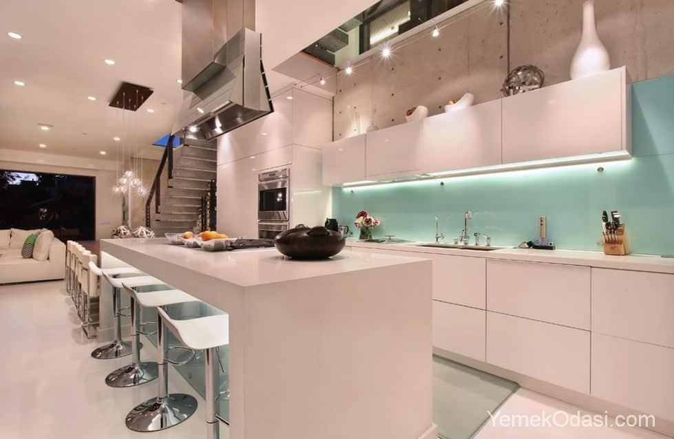 Tezgah Arası Renkli Cam Panel Modelleri 1 Yemek Odası Ve