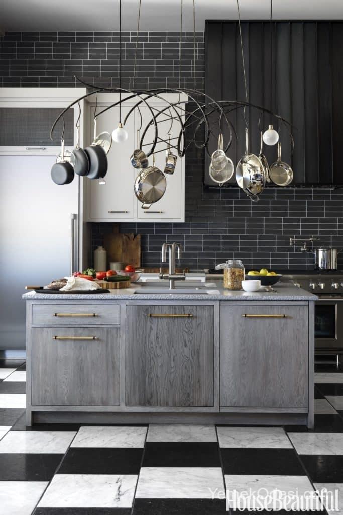 Modern ada mutfak ve askılık