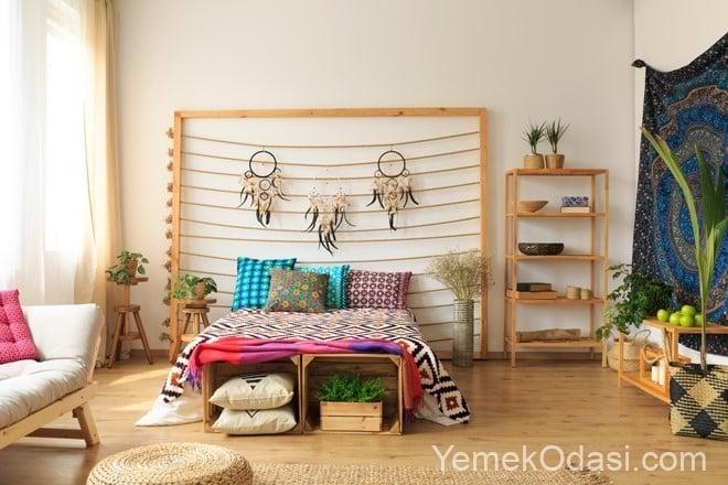 ahşaptan yatak odası