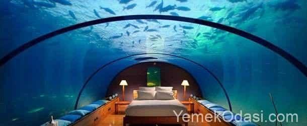 akvaryumlu yatak odası