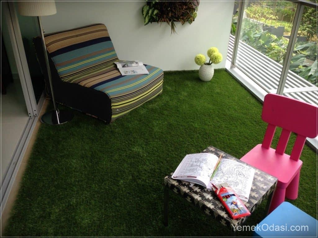 balkonda çim halı