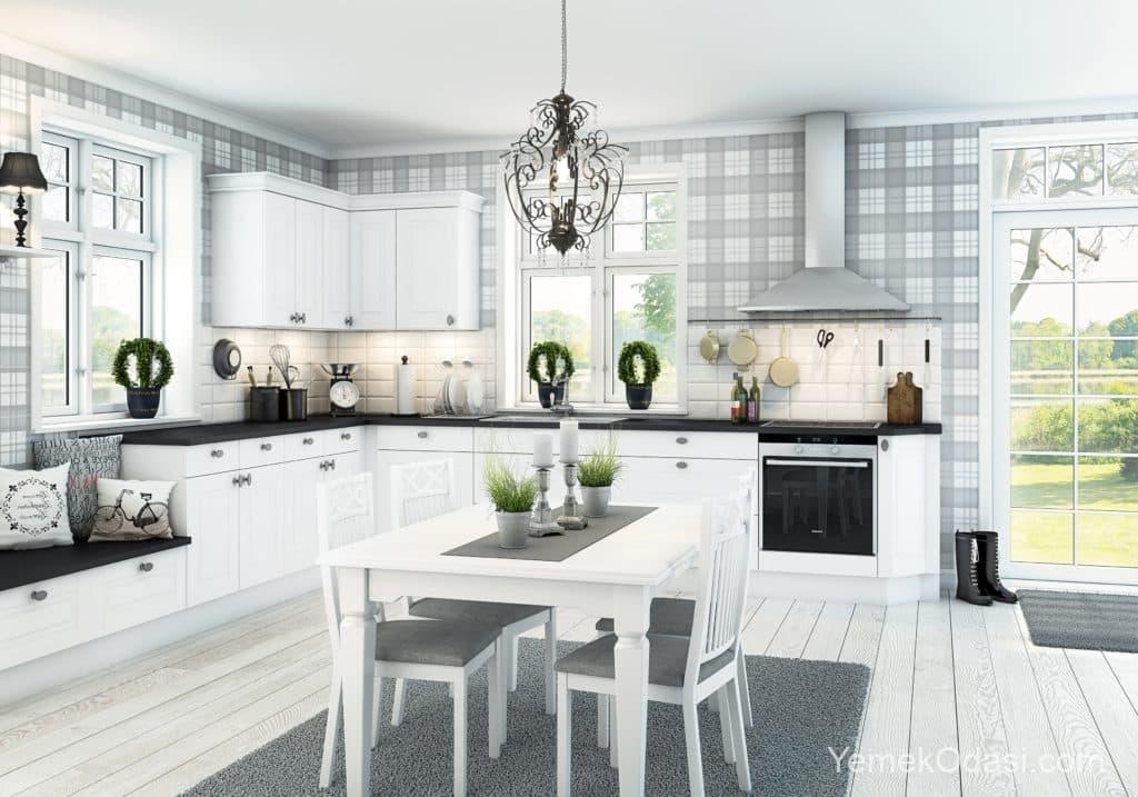 Beyaz mutfak aydınlatma
