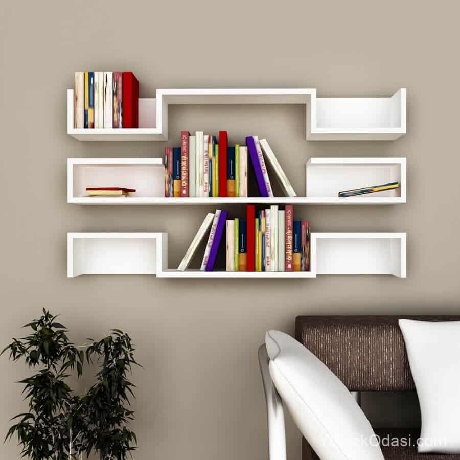 beyaz raf kitaplık