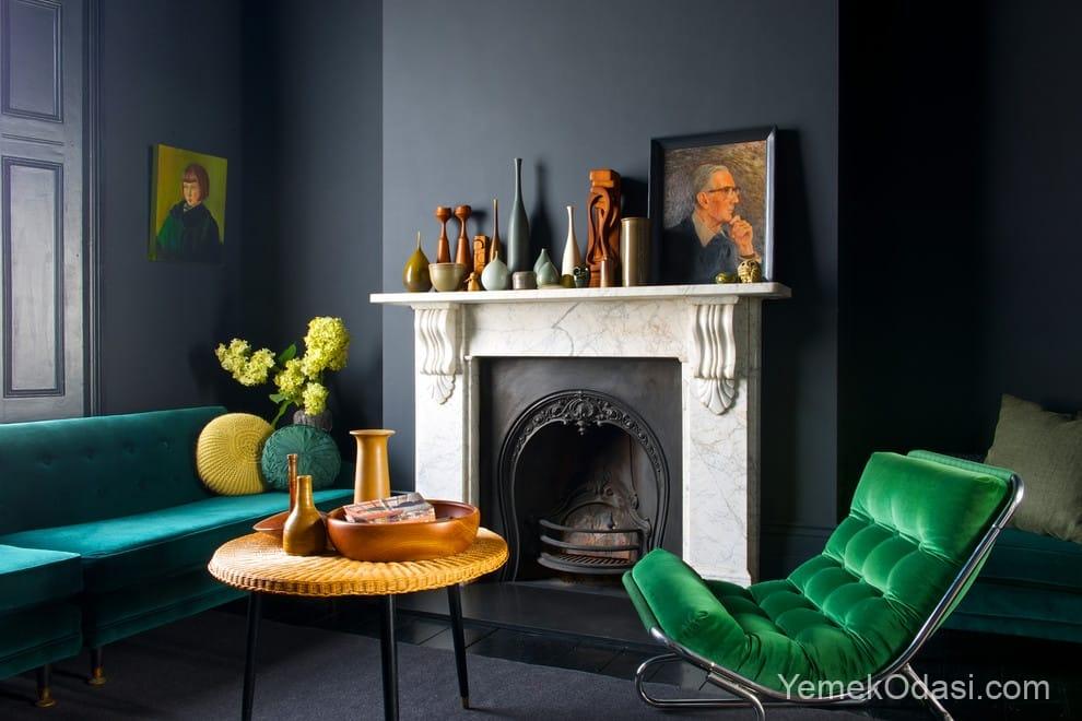 gri koyu yeşil dekorasyon