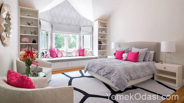 gri pembe yatak odası