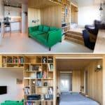 kanepe arkasinda kitaplik ve uyku alani tasarimi