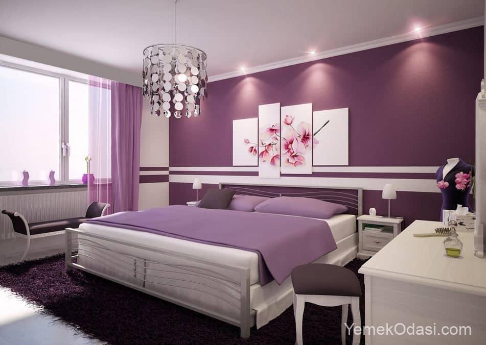 lila renk yatak odası