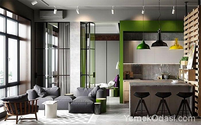 siyah yesil salon dekorasyonu ve cam kapilar