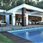 tek katlı havuzlu ev