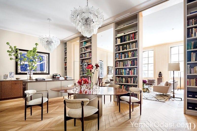 yuksek tavan kitaplik uc tane uzun