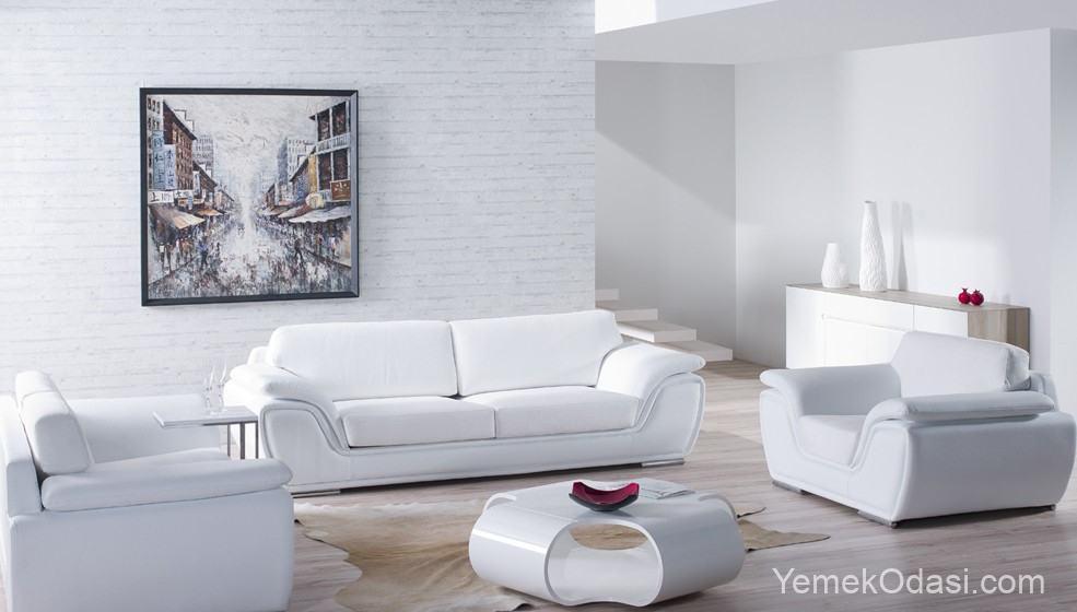beyaz suni deri koltuk modeli