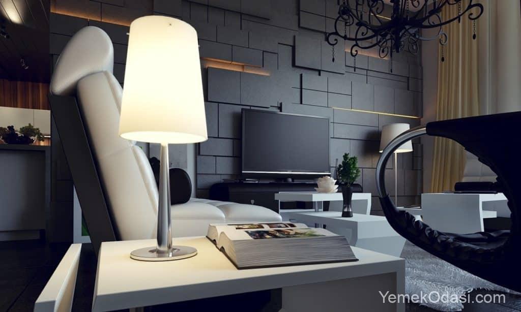 modern asimetrik salon dekorasyonu