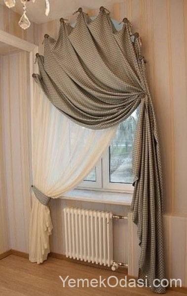 yuvarlak pencere perde modelleri