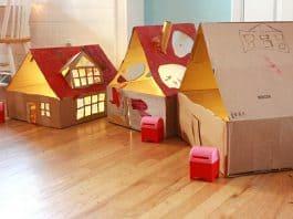 ışıklı karton ev