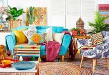 bohem dekorasyon ile tasarlanmış oda görünümü